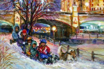 Winter Holiday Fan - Holiday / Christmas Greeting Art Card for good luck by Ottawa Artist Elena Khomoutova
