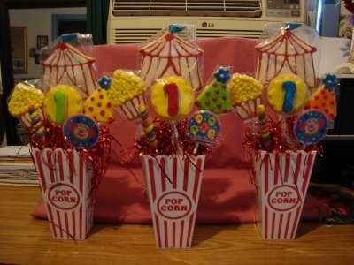 Circus Theme Cookies/Bouquets By SunsetHoney on CakeCentral.com. These would make great table centerpieces.
