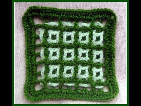 Двухцветная филейная сетка - узор КВАДРАТИКИ. crochet patterns - YouTube