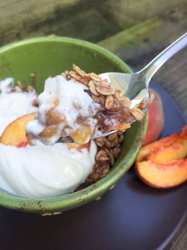 "Healthy Peach Crisp - (E)   ""Sweet and tender peaches in syrupy sauce, topped with a chewy oatmeal crust – oh this is sweet perfection!"" - Sarah  www.TrimHealthyMama.com"