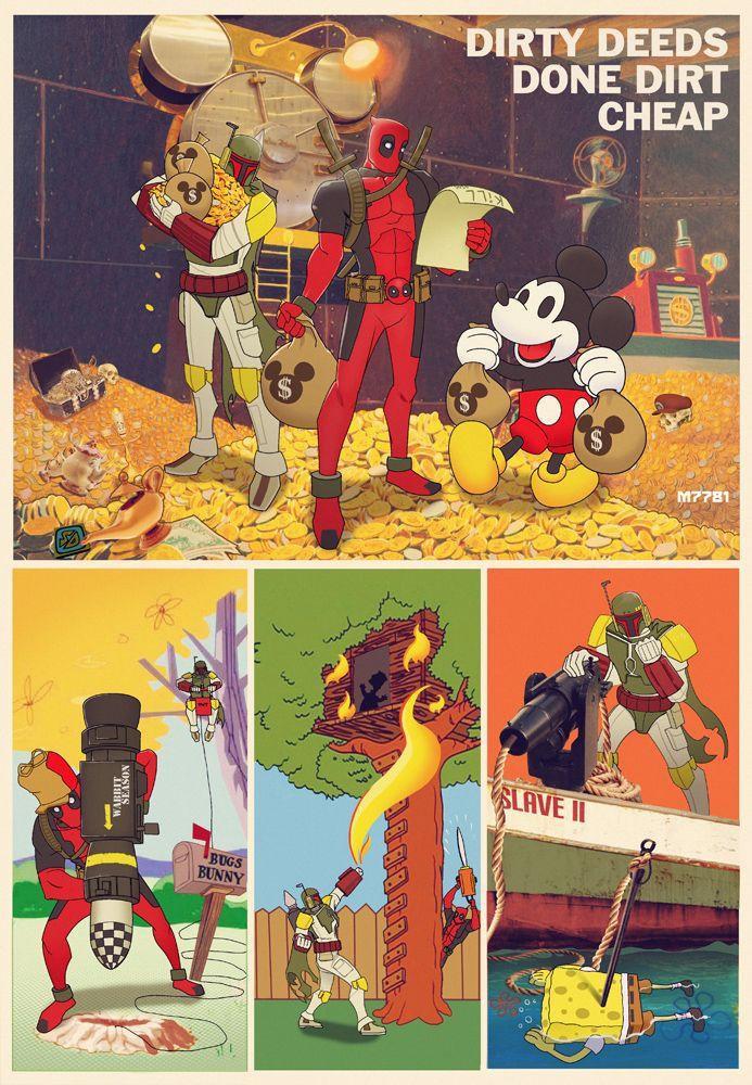 """Boba Fett n Deadpool : Dirty Deeds"" by Marco d'Alfonso"