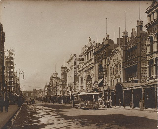 Cable tram in Bourke Street, Melbourne, c1890-1900. Coles Book Arcade is on the…