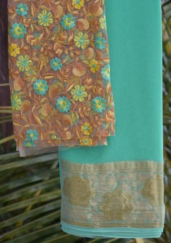Aqua Green saree with embroidered blouse piece