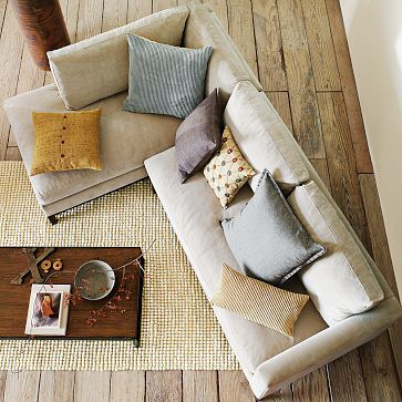 West Elm. I want a small apartment size sectional like this for my bonus room, a pull out would be fantastic!