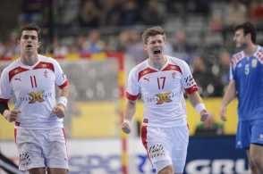 Lasse Svan Hansen jubler efter en scoring i 2. halvleg mod Kroatien. (Foto: Lars Poulsen)