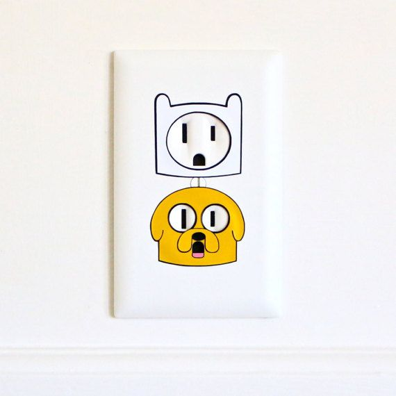 Finn & Jake - Adventure Time - Electric Outlet Wall Art Sticker Decal Combo