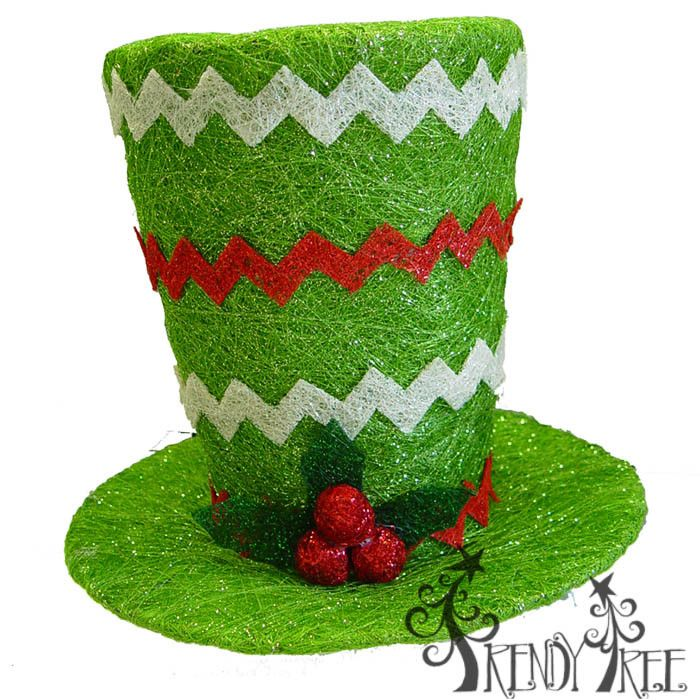 "11.5"" Lighted Top Hat Green with Chevron Stripes  #trendytree #tophat"