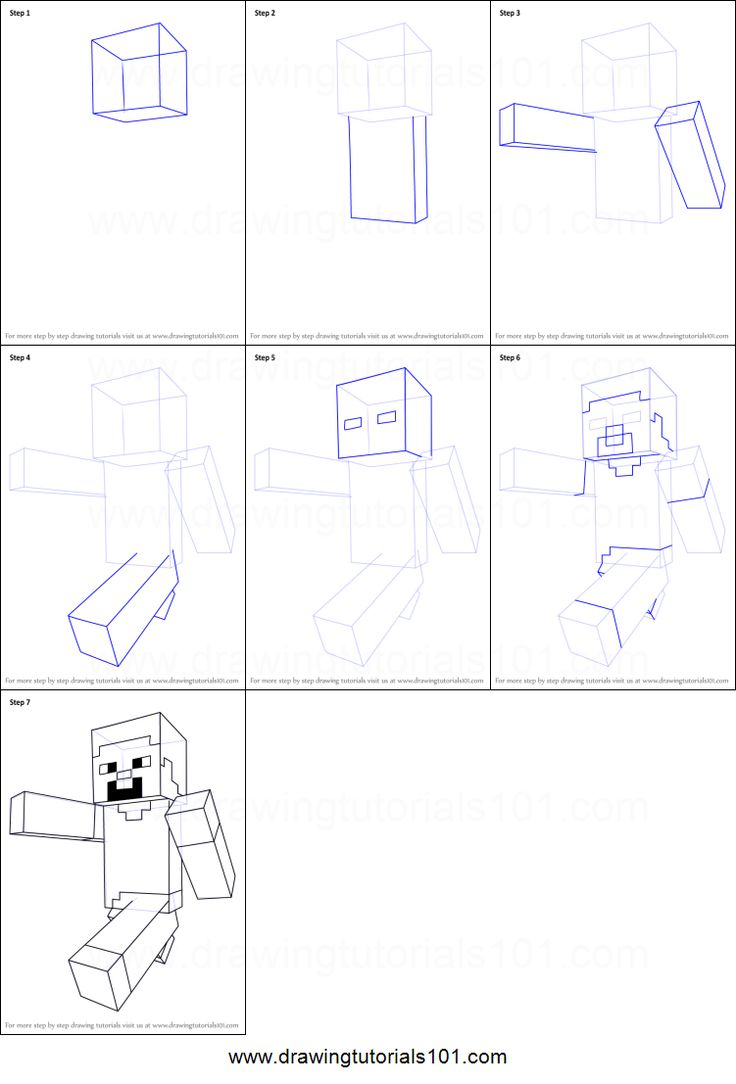 How to Draw Steve from Minecraft printable step by step drawing sheet : DrawingTutorials101.com