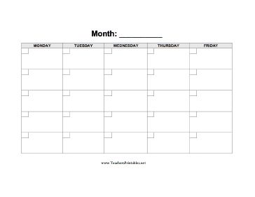 Blank calendar displaying a five day week with boxes in which to
