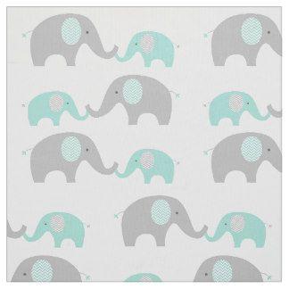 Verde menta y gris lindos de la tela del elefante telas