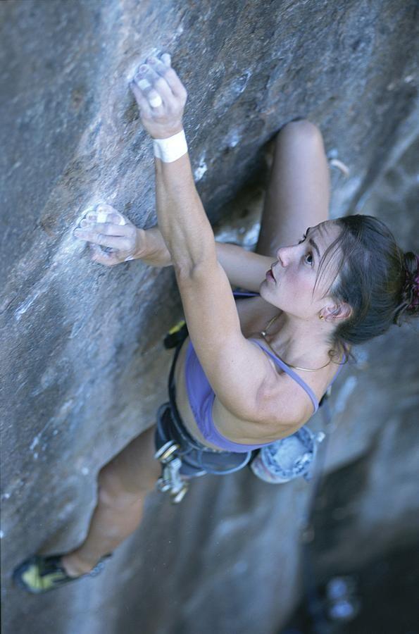 Jimmy Chin Climbing | Young Woman Climbing In Moab, Utah Photograph