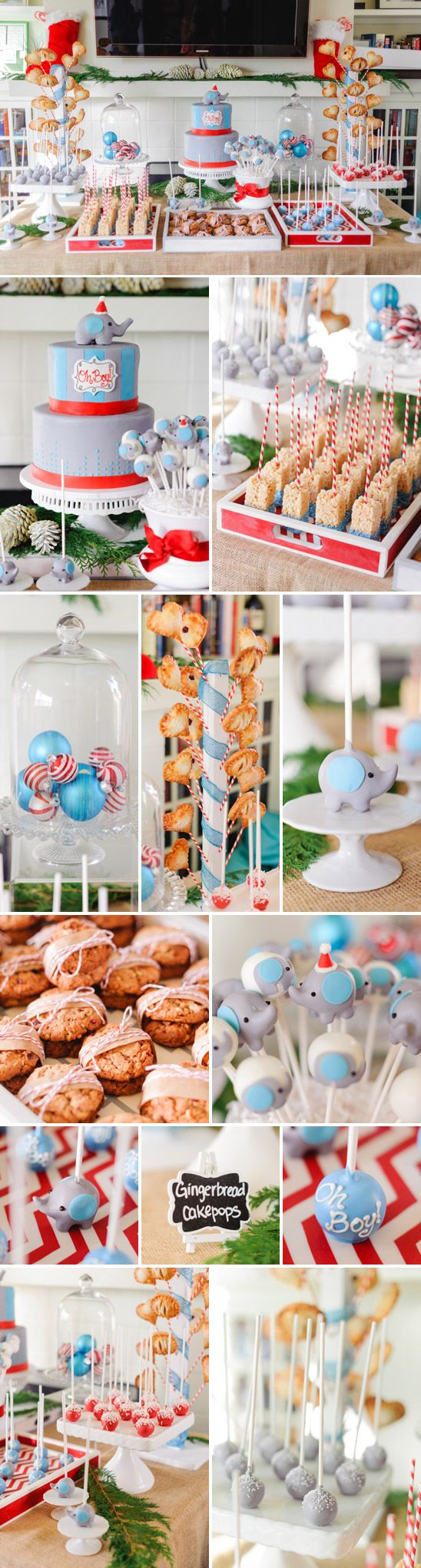 Sweet Winter Elephant Themed Baby Shower: rice krispie squares dipped in blue colored melting candies with a paper straw.