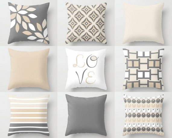 NEUTRAL Pillow Covers Decorative Throw Pillows by HLBhomedesigns