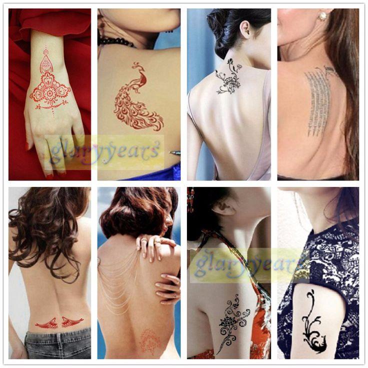 1pc Large Mehndi Henna Glitter Temporary Tattoo Stencil Paper Template Body Art…