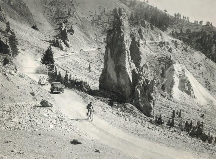 .......Gino Bartali riding through Casse Deserte, TdF, 1938!