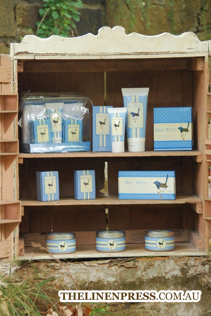 Entire Blue Wren Linen Press Range #australianflora #australianfauna #naturalsoap #australianmade #bluewren