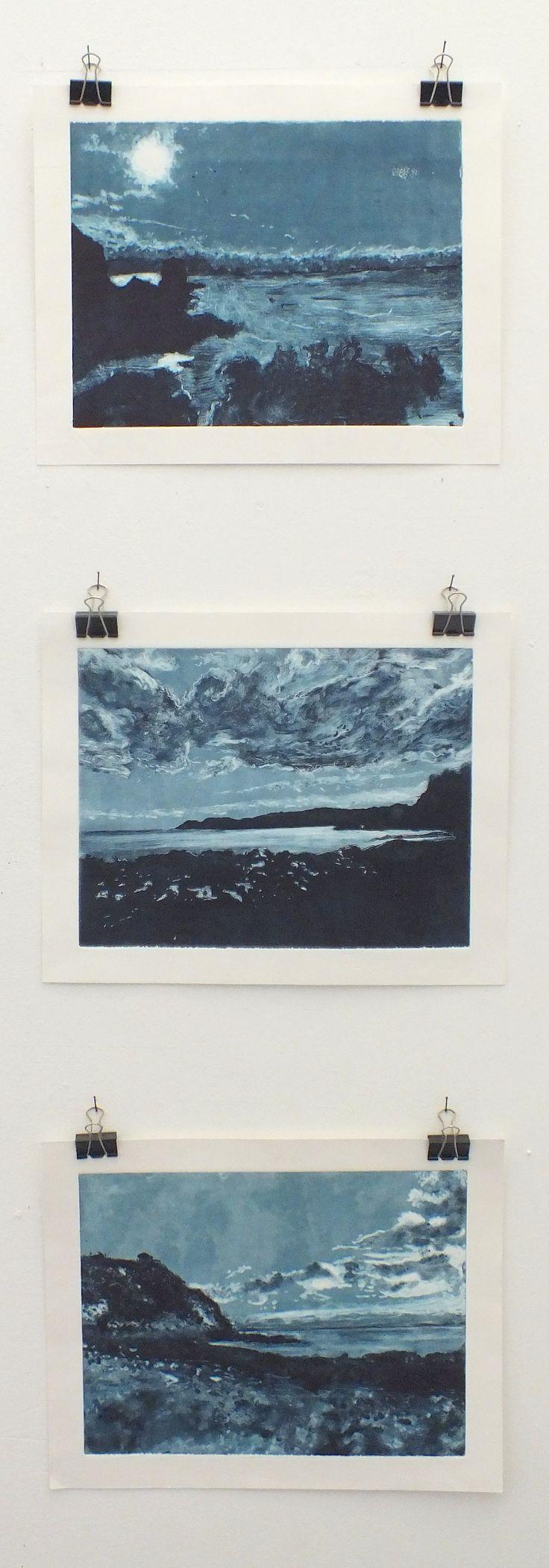 Mae - Monotype x 3 - Truro College A Level Fine Art - Coursework Show 2017