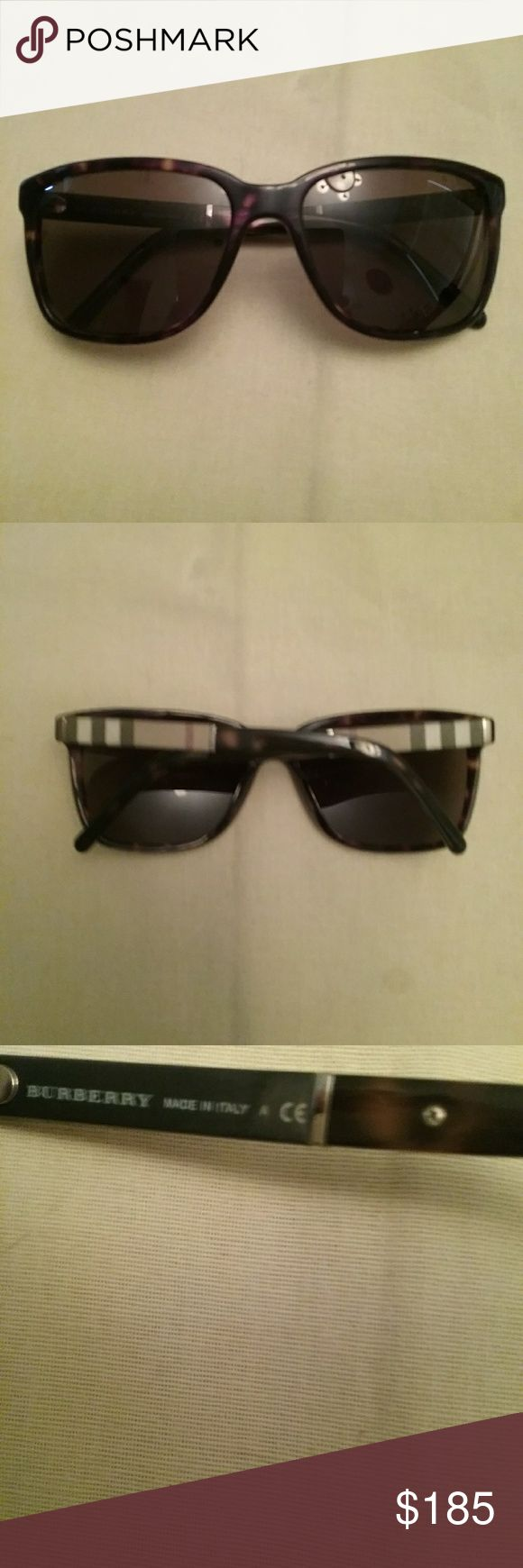 Authentic Burberry Sunglasses Burberry Sunglasses only worn one time they are in excellent condition and there are no scratches on them. They have the Burberry logo on the outside of them as shown above and they are very cute on. Color is Tortoise Shell brown. Burberry Accessories Sunglasses