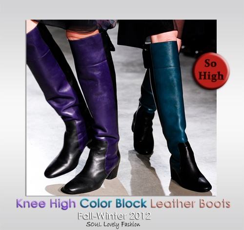 So High|  Knee High Color Block Leather Boots  Fashion Trend forFall Winter 2012