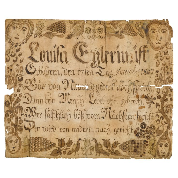 ink and watercolor fraktur birth certificate for