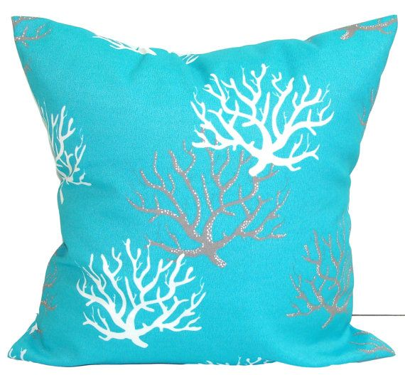 blue outdoor pillows aqua coral pillow cover by