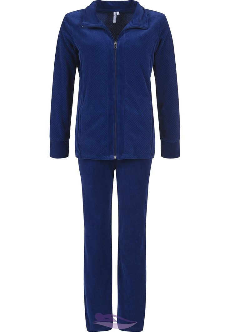 Relax in comfort in this 'soft quilted style' royal medium blue velvet homesuit from Pastunette
