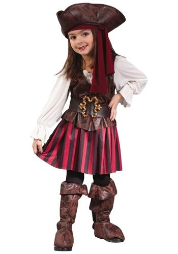 She's off to look for treasure! This Caribbean Toddler Pirate Girl Costume is a classic pirate costume for little kids.