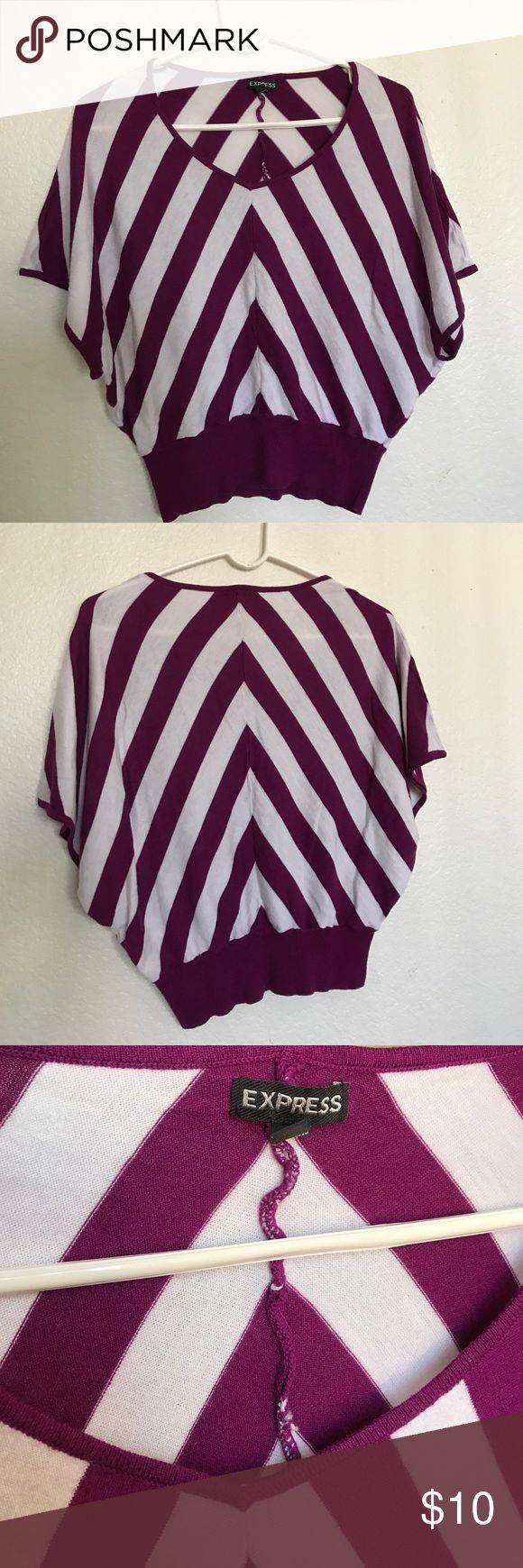 White and Purple Chevron Shirt This shirt has a nice tighter fit around the bottom, along with a flow at the top. Used only twice! Tops