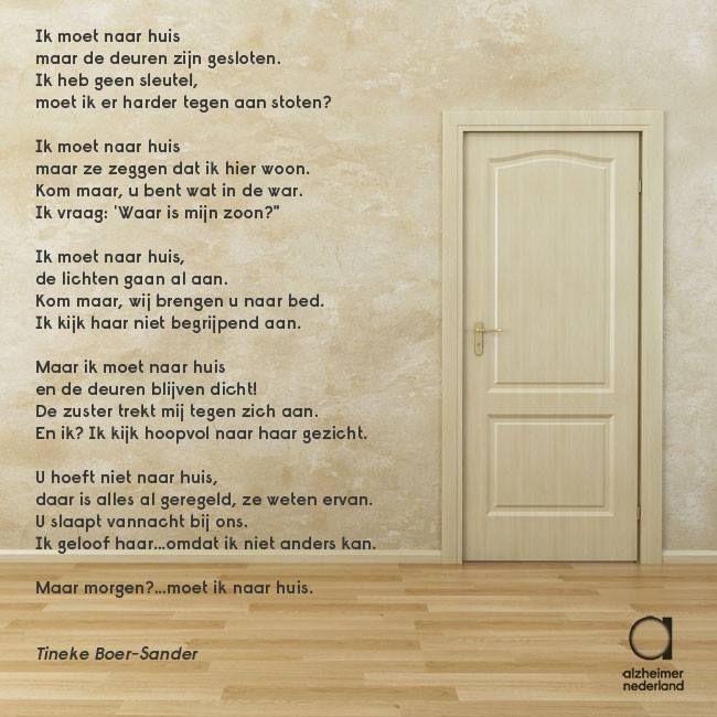 """""""Ik moet naar huis"""". Treffend gedicht van Tineke Boer-Sander"""
