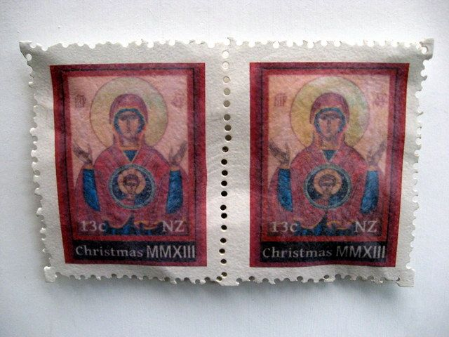 Christmas Series Stamp Sculpture. Double Icon. 20cm x 33cm $495 by Liz McAuliffe.  Stamps for sale.
