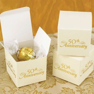50th Wedding Anniversary favors--Lindor white chocolate truffles. A b picture of the couple might be nice on the side of the box--or something else to personalize it.