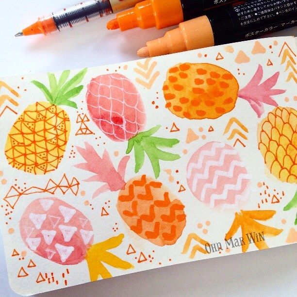 colorful pineapples by ohn_mar_win
