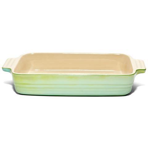 Le Creuset - Medium Green Lustre Rectangular Dish 26x18cm   Peter's of Kensington