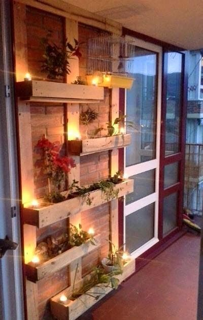 Focal Wall With Lights And Planters Made From Pallets --- #pallets