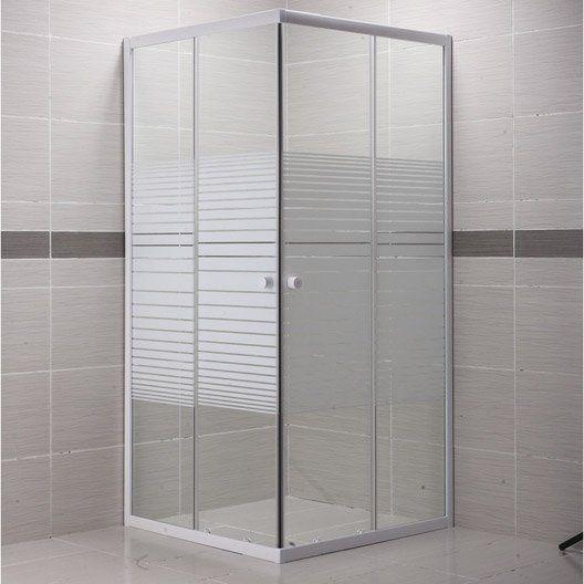 Porte de douche coulissante primo verre serigraphie blanc for Porte coulissante salle de bain verre