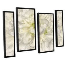 'Pure White Peony' by Cora Niele 4 Piece Framed Graphic Art Set
