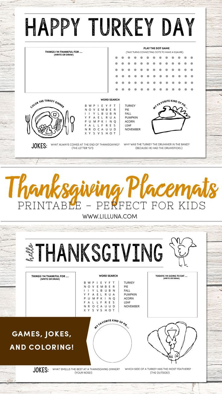 FREE Thanksgiving Placemats - perfect for the kids' table on Thanksgiving!