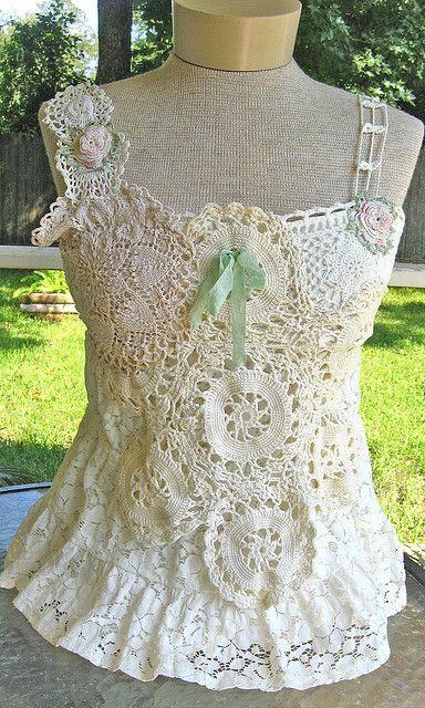 Vintage  crochet lace top by kimberlyannryan