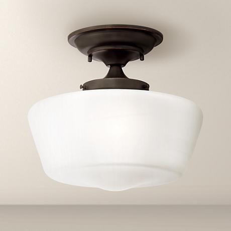 "Schoolhouse Floating 12"" Wide Bronze Ceiling Light - #2M670 | LampsPlus.com"
