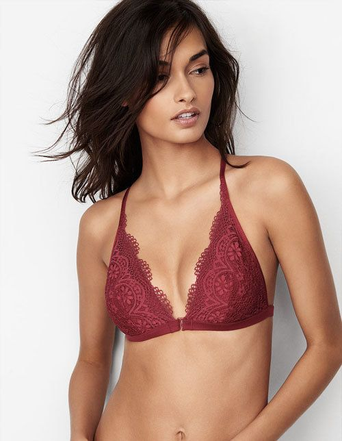 Front-close slightly padded bralette.