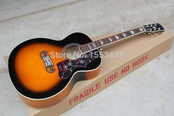 (200.00$)  Buy here  - Free shipping Wholesale Guitar Factory High Quality Acoustic Guitar Vintage Sunburst Acoustic Guitar Grover Tuners .