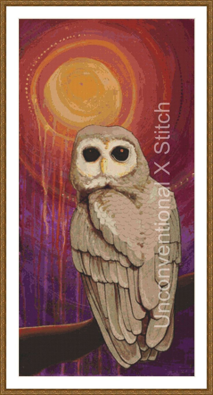 Owl cross stitch pattern - Skulking by Owl Light - Licensed Brianna Reagan by UnconventionalX on Etsy