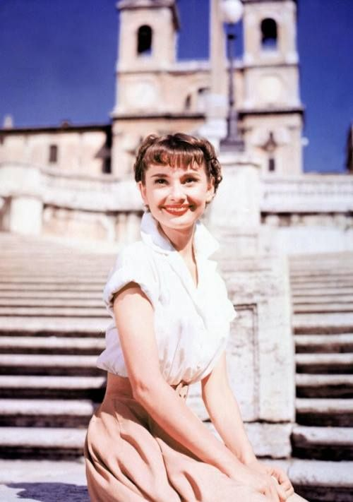 Audrey Hepburn in Roman Holiday. / Paramount originally wanted to shoot this movie in Hollywood. William Wyler refused, insisting it must be shot on location. They finally agreed, but with a much lower budget. This meant the movie would now be in Black-n-White, not the expected Technicolor, and he would need to cast an unknown actress as the Princess - Audrey Hepburn. 1950s