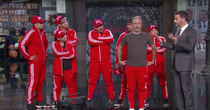 Watch Jon Stewart, Breakdancing Crew Invade 'Kimmel'  ||  Jon Stewart made another surprise appearance on 'Jimmy Kimmel Live' Friday, this time invading Kimmel's monologue along with a breakdancing crew. http://www.rollingstone.com/tv/news/watch-jon-stewart-breakdancing-crew-invade-kimmel-w509869?utm_campaign=crowdfire&utm_content=crowdfire&utm_medium=social&utm_source=pinterest