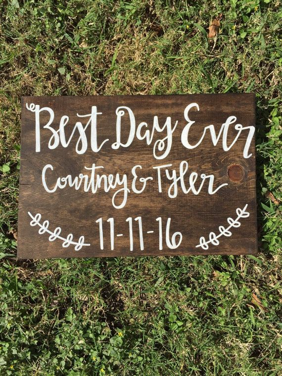 Best Day Ever with names and date wedding sign by TheVintageMintTX