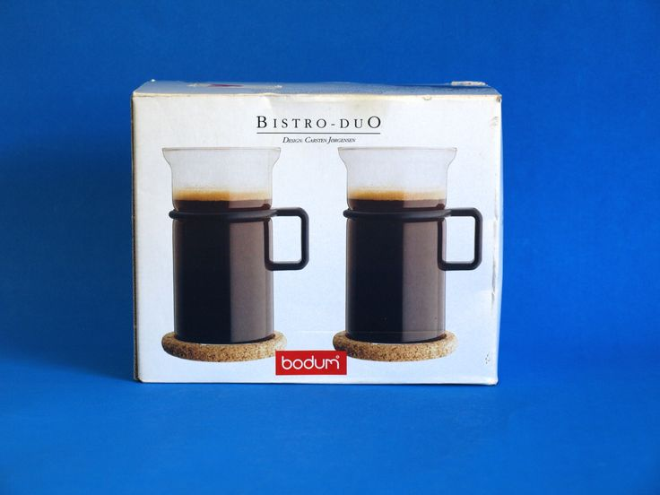 Bodum Bistro Duo Tall Glass Mugs Black Handle - New in Box - Cork Coasters - Pair of Le Pot Danish Coffee Cups - Picard - Made in Denmark by FunkyKoala on Etsy