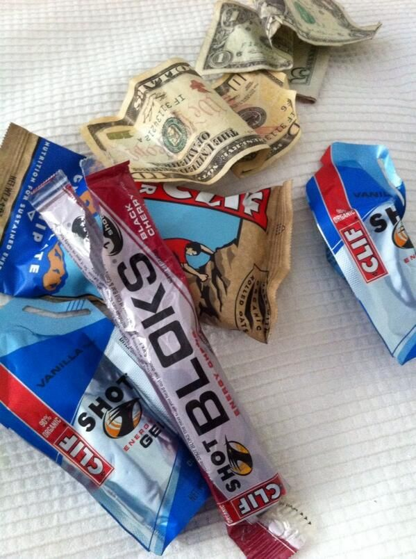 Clif bar, Clif shot Bloks, Clif Shots, and some dolla-dollas in case there's a thirdwave coffeeshop on the way home.