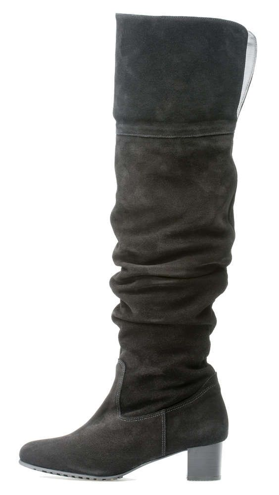 Palmroth mid high heel over-knee-boot black suede