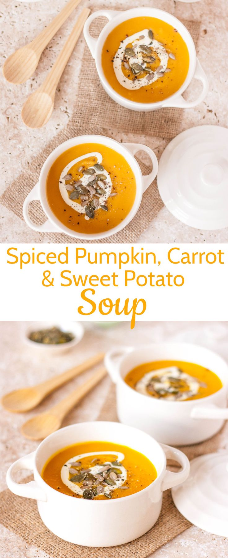 Spiced pumpkin, carrot, and sweet potato soup is a delicious twist on the classic sweet potato soup recipe. It's the perfect sweet potato recipe for Thanksgiving!