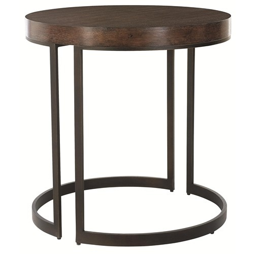 Adjustable Side Table For Recliner: Elements Round Side Table With Metal Base & Adjustable